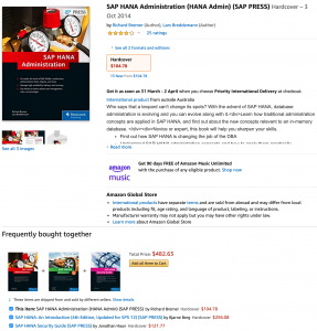 "Screenshot of ""Frequently bought together"" section for SAP HANA Administration book on Amazon."